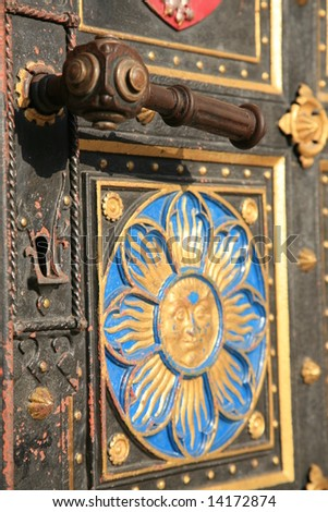 Detail of the main entrance door of gothic church of St. Peter and Paul on Vysehrad in Prague. Established in 1st half of 11 century, last rebuild was finished in 1903.