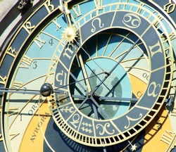 Detail of the medieval astronomical clock named Orloj on the Old Town Hall in Prague, capital of the Czech Republic