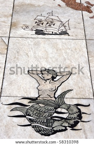 "Detail of the mosaic in front of the Monument to the Discoveries (""Padrao dos Descobrimentos"") in Lisbon"