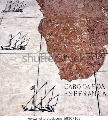 """Detail of the mosaic in front of the Monument to the Discoveries (""""Padrao dos Descobrimentos&quot ;) in Lisbon - stock photo"""