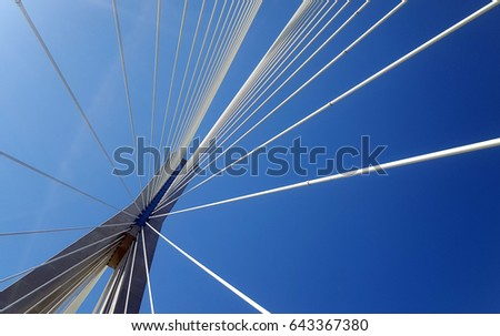 Detail of the multi-span cable-stayed bridge Rio - Antirrio, in Patras city, Greece  #643367380