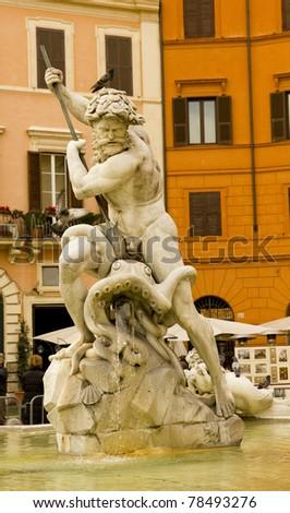 Detail of the Neptune fountain in Piazza Navona, Rome, Italy. Work of Giacomo della Porta.