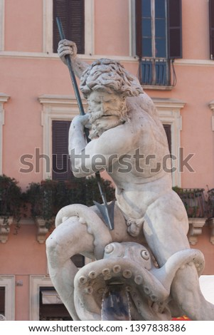 detail of the neptune sculptural figure in Fountain of Neptune, in the Piazza Navona designed by Giacomo Della Porta,Rome, Italy, .