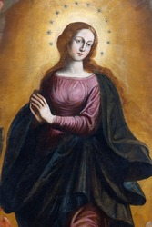 Detail of the painting of Our Lady Immaculate - Sicily - seventeenth century