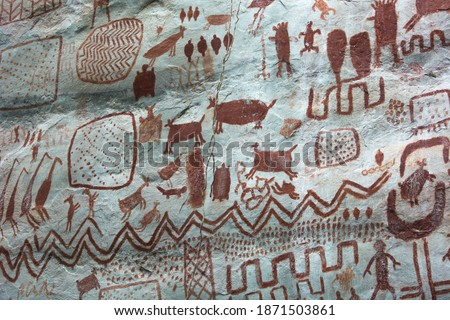 Detail of the paintings on a rock in 'Cerro Azul' in La Lindosa, Guaviare. Primitive art on red pigments over a white natural rock, paintings of animals an tribal patterns. Near Chiribiquete formation Stockfoto ©