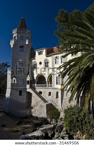 detail of the Palace of the Condes de Castro Guimaraes in Cascais