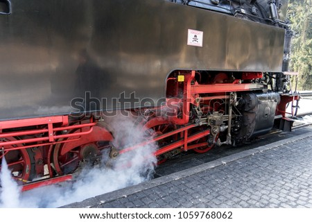 Detail of the power transmission on steam locomotive #1059768062