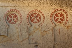 Detail of the rock-cut church in Goreme, Cappadocia, Turkey