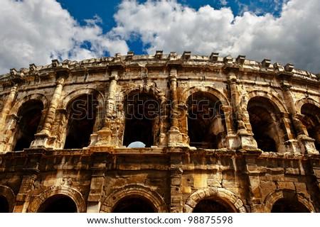 Detail of the Roman ?oliseum in Nimes, France