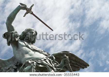 Detail of the Saint Michael statue on the top of Castel Sant`Angelo in Rome