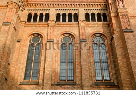 Detail of the side windows of the St. Thomas-Kirche in Marianenp