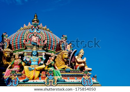 Detail of the Sri Mariamman temple in Singapore