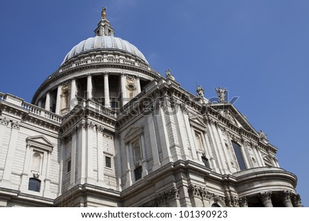 Detail of the St Paul cathedral in London