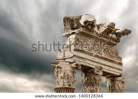 Detail of the Temple of Venus Genetrix, 46 b.C. with columns and capitals in Corinthian style, Roman Forum, Rome, UNESCO world heritage site, Italy, Latium, Europe