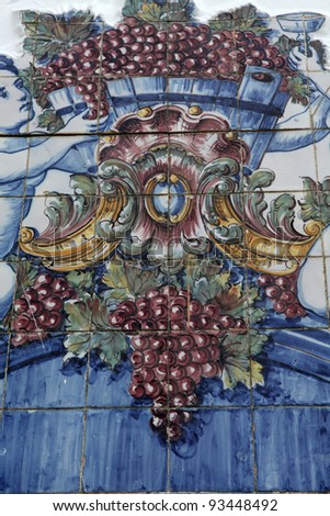 Detail of the traditional tiles (azulejos) from facade of old house in Portugal