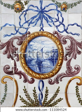 Detail of the traditional tiles (azulejos) on facade of old house in Lisbon, Portugal