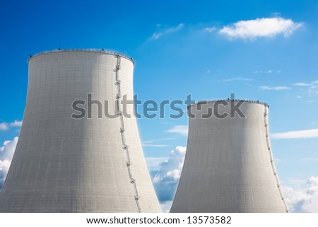 Detail of the twin cooling towers, nuclear power plant.