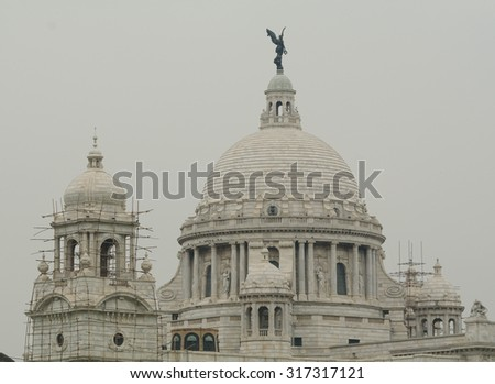 Detail of the Victoria Memorial. Built by the British during colonial times it is a prominent feature in Kolkata, India. #317317121