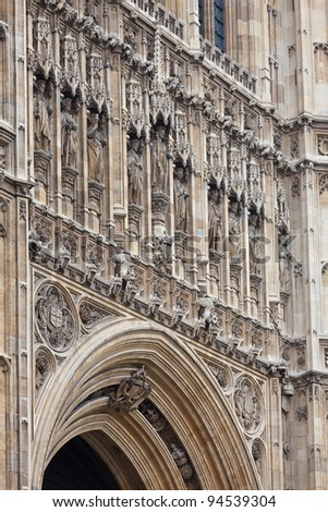 Detail of the Victoria Tower, Palace of Westminster (Houses of Parliament), London, UK - stock photo