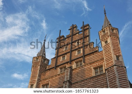 Detail of The Vleeshuis building in Atnwerp, Belgium. Iin the Middle Ages was a meat market as well as a guildhall.