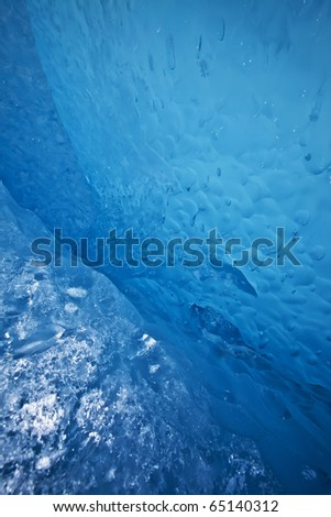 detail of the walls of an ice cave in glacer bay area alaska