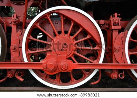 Detail of the wheels on a steam train - stock photo