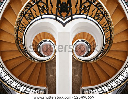 Detail of the wood spiral staircase. Hotel, stairs, stairway, step