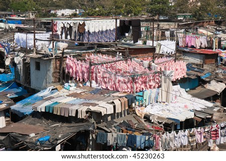 Detail of the World's Largest Open Laundry in Mumbai, India.