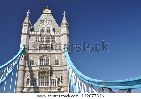 Detail of Tower Bridge over the River Thames, London, UK