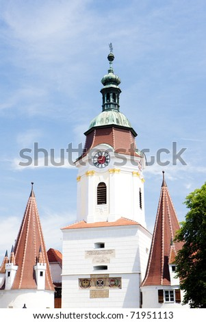 detail of town gate, Krems, Lower Austria, Austria