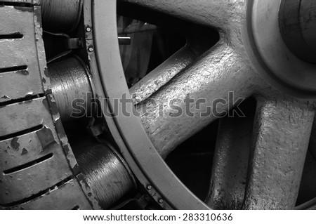 Detail of turbine at Faraday hydroelectric powerhouse near Estacada, Oregon.
