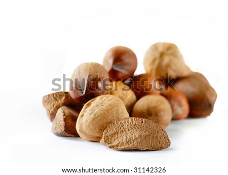 Detail of various nuts shallow depth of field