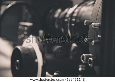 detail of Video camera , film crew production, behind the scenes background