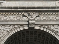 Detail of Washington Square arch in New York City