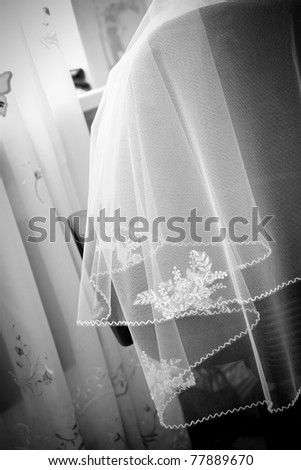 Detail of  wedding, bride's veil