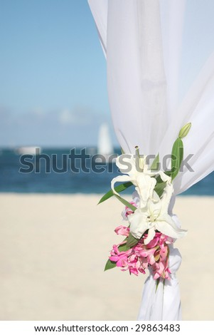 Detail of wedding gazebo on a tropical sand beach