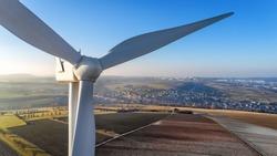 Detail of wind turbine in Cadenbronn, Moselle, Lorraine, France