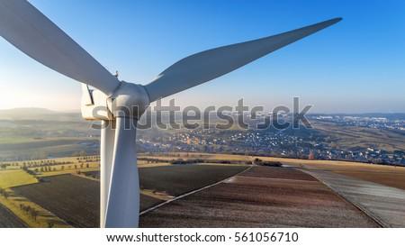 detail of wind turbine in...