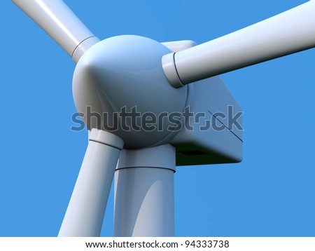 Detail of wind turbine rotor on blue background
