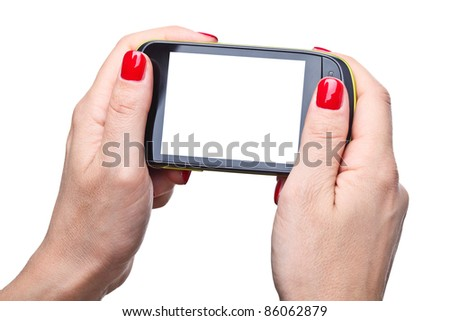 detail of woman hands holding modern smart phone