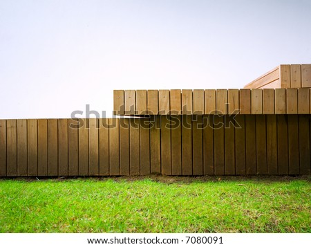 Detail of wood-panelled outside deck