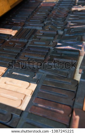 Detail of wooden font type set