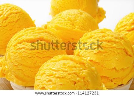 Detail of yellow ice cream cones