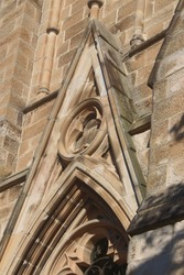 Detail on a church,  some of the sandstone requiring restoration. Hunter Baillie Memorial Presbyterian Church a heritage listed church built 1889. An example of Gothic Revival architecture.