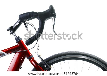 Detail on a handlebar and wheel of a race bicycle #151293764