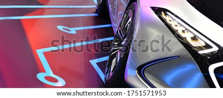 Detail on one of the LED headlights modern electric car