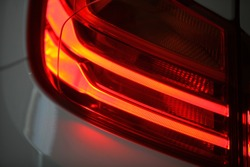 Detail on the rear light of a car.