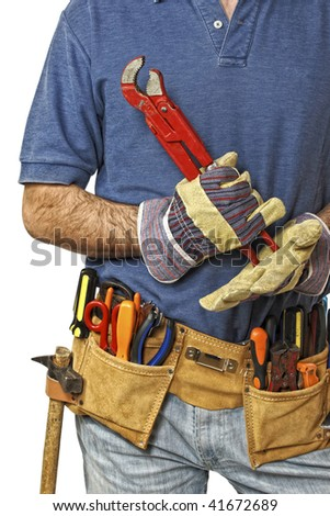 detail on toolbelt of caucasian manual worker