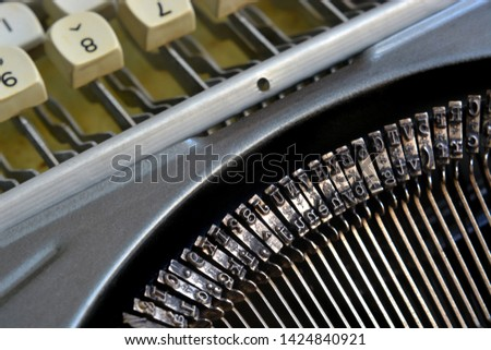 Detail on typefaces of an old typewriter