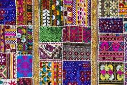 Detail patchwork carpet. Close up